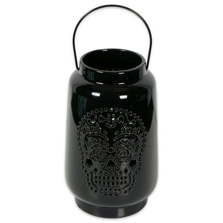 DII Halloween & Fall Dia De Los Muertos Decorative Tealight Ceramic LED Lantern Ideal for Indoor Home Decor, Outdoor Lighting, Farmhouse, Large, Black