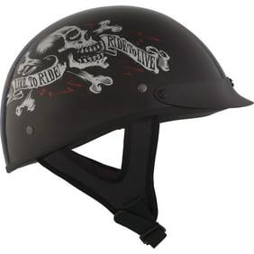 2X-Large ZOX ST-225A /'Retro Old School Muerte Matte Grey Motorcycle Half Helmet