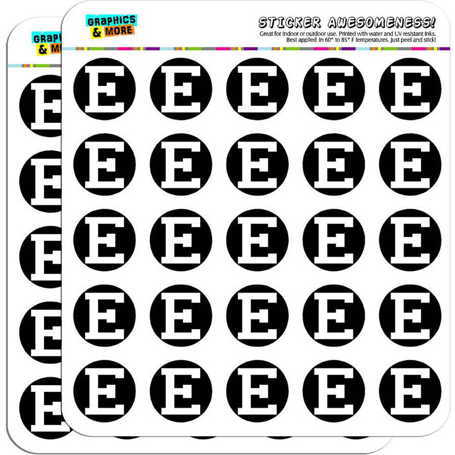 "Letter E Initial Black White 50 1"" Planner Calendar Scrapbooking Crafting Stickers"