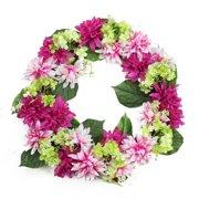 Northlight Seasonal Artificial Floral Dahlia and Hydrangea 22'' Fabric/Vine/PE Wreath