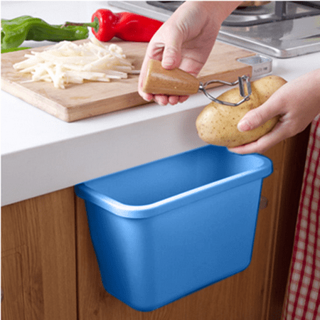 Smarit Home Kitchen Cabinet Door Mounted Plastic Hanging Wastebasket Trash Can Garbage Bins Recycling Container Storage