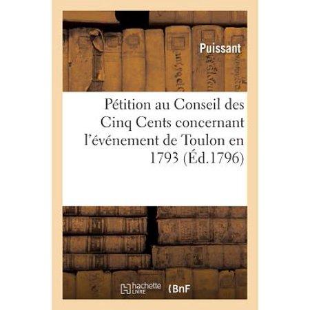 1793 Large Cent (P�tition Au Conseil Des Cinq Cents Concernant l'�v�nement de Toulon En 1793 )