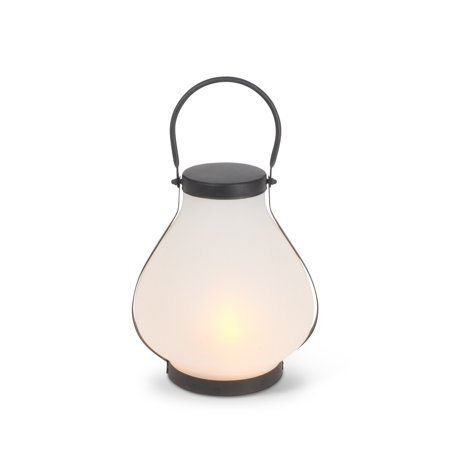 """10"""" Black Antique Style LED Lantern with Frosted Glass Globe Body"""