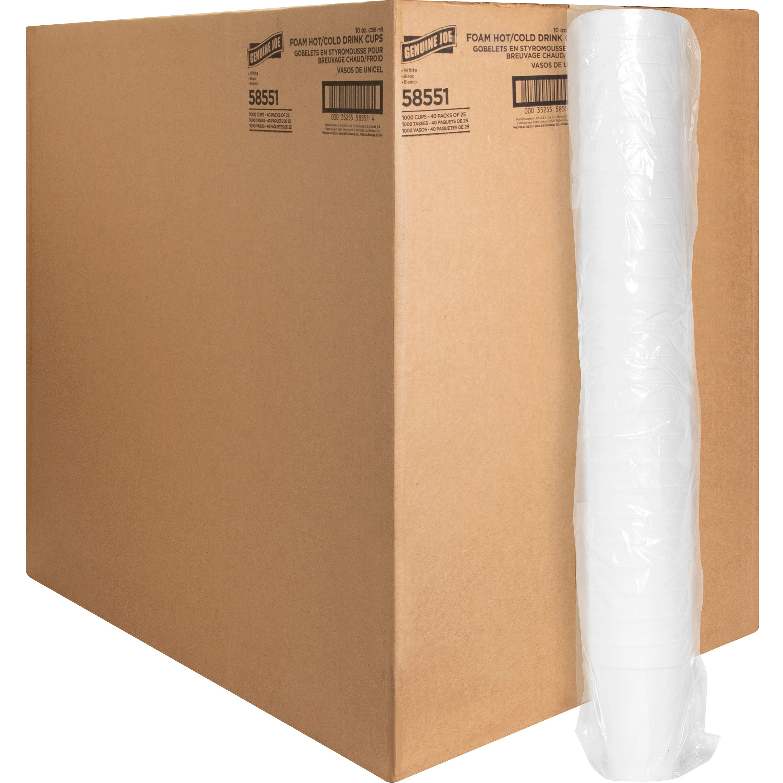 Genuine Joe Hot/Cold Foam Cups, 10 oz, 1000 count, White (GJO58551)