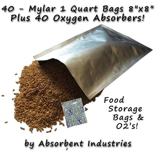"Oxy-Sorb 40pk of Mylar 8"" x 8"" Bags & 40pk of Oxygen Absorbers"
