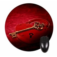 Heart Key and Lock - Round Shape Mouse Pad - Love/ Valentine's Day Gift