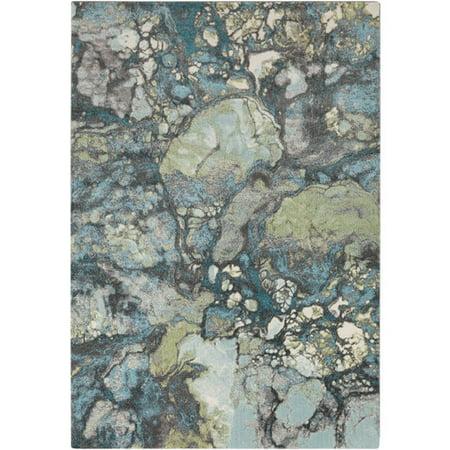 2.15' x 3' Dye Burst Charcoal Gray and Teal Area Throw Rug ()