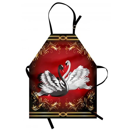Animal Apron Black and White Swan Couple Ornamental Framework Romance Grace Tenderness Purity, Unisex Kitchen Bib Apron with Adjustable Neck for Cooking Baking Gardening, Multicolor, by Ambesonne