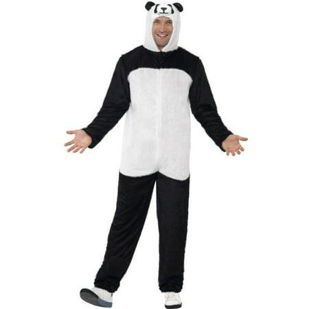 Men's All In One Zoo Animal Panda Zip Up Costume With Hood Medium