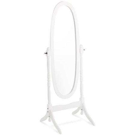 """GHP 23""""x20""""x59"""" White Solid Rubber Wood Full-Body Reflection Tilt Full Length Mirror"""