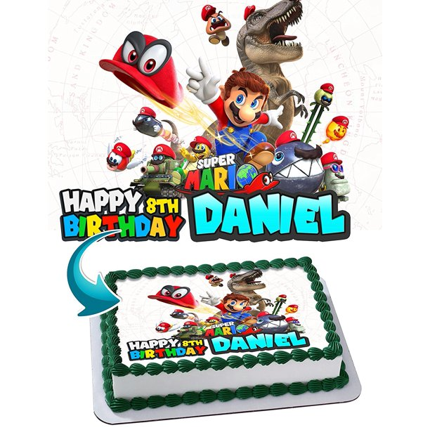 Super Mario Odyssey Cake Image Personalized Toppers Icing Sugar