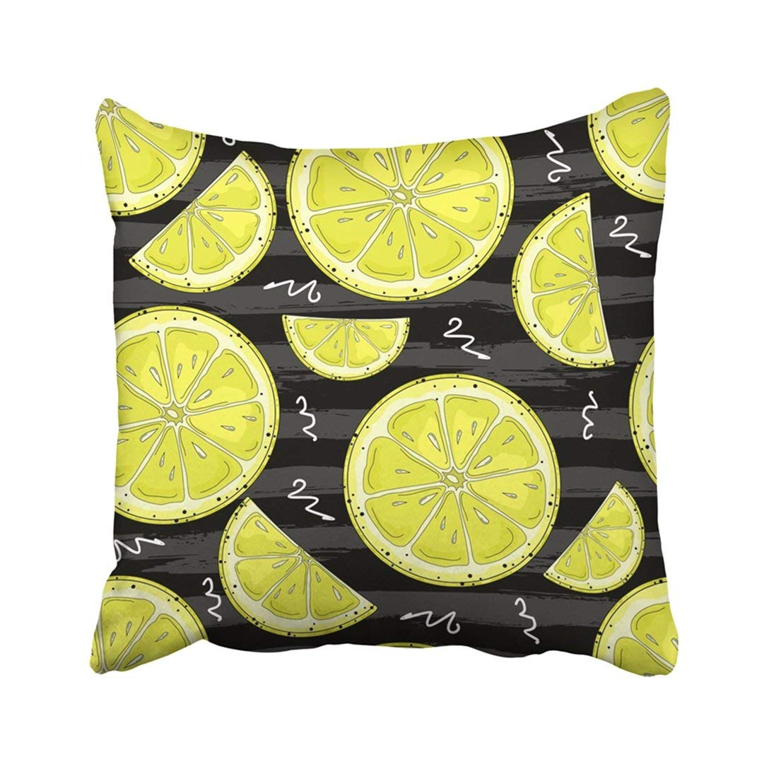 WOPOP Colorful Beautiful Hand Drawn Bright Lemon Pattern In Green Citrus Color Cut Drawing Food Pillowcase Throw Pillow Cover Case 20x20 inches