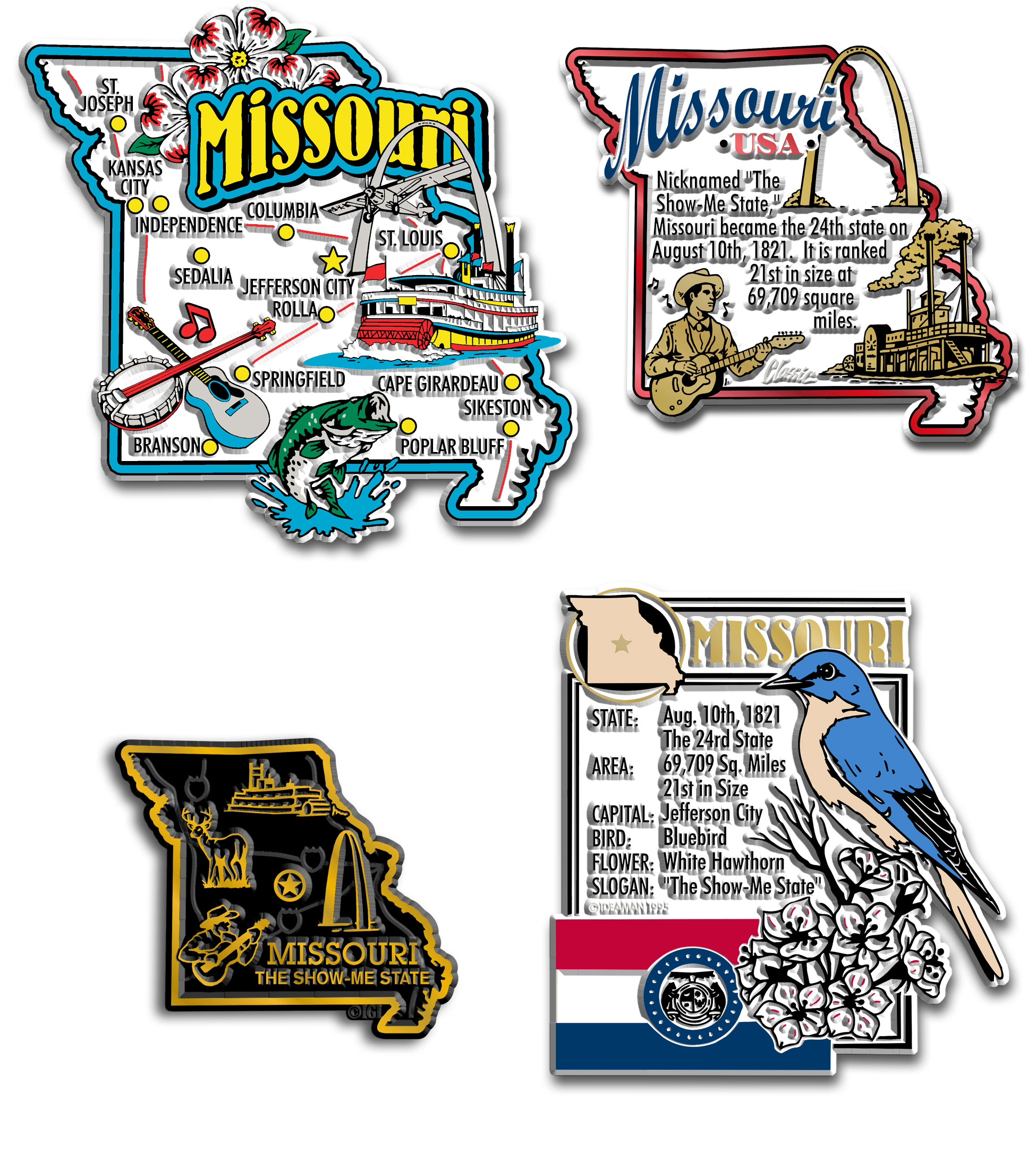 Four-Piece State Magnet Set - Missouri