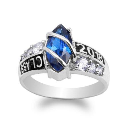 925 Sterling Silver 2018 Graduation School Sapphire Blue Marquise CZ Ring Size 4-10 (Walmart Graduation Rings)