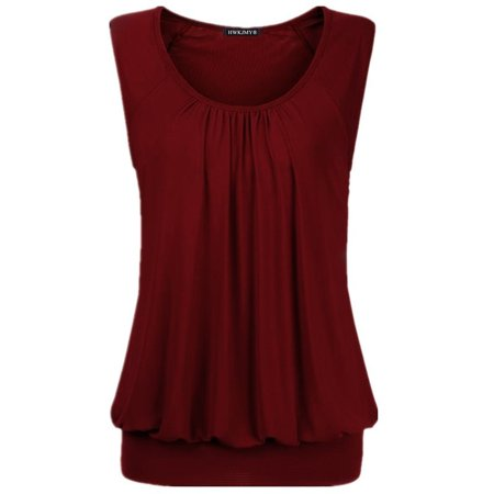 07bb554646850 FRESHLOOK - Summer Women Sexy Solid Color O-neck Sleeveless Tops Loose  Pleated Cotton Blouse Plus Size T Shirt Fashion Casual Tank Tops -  Walmart.com