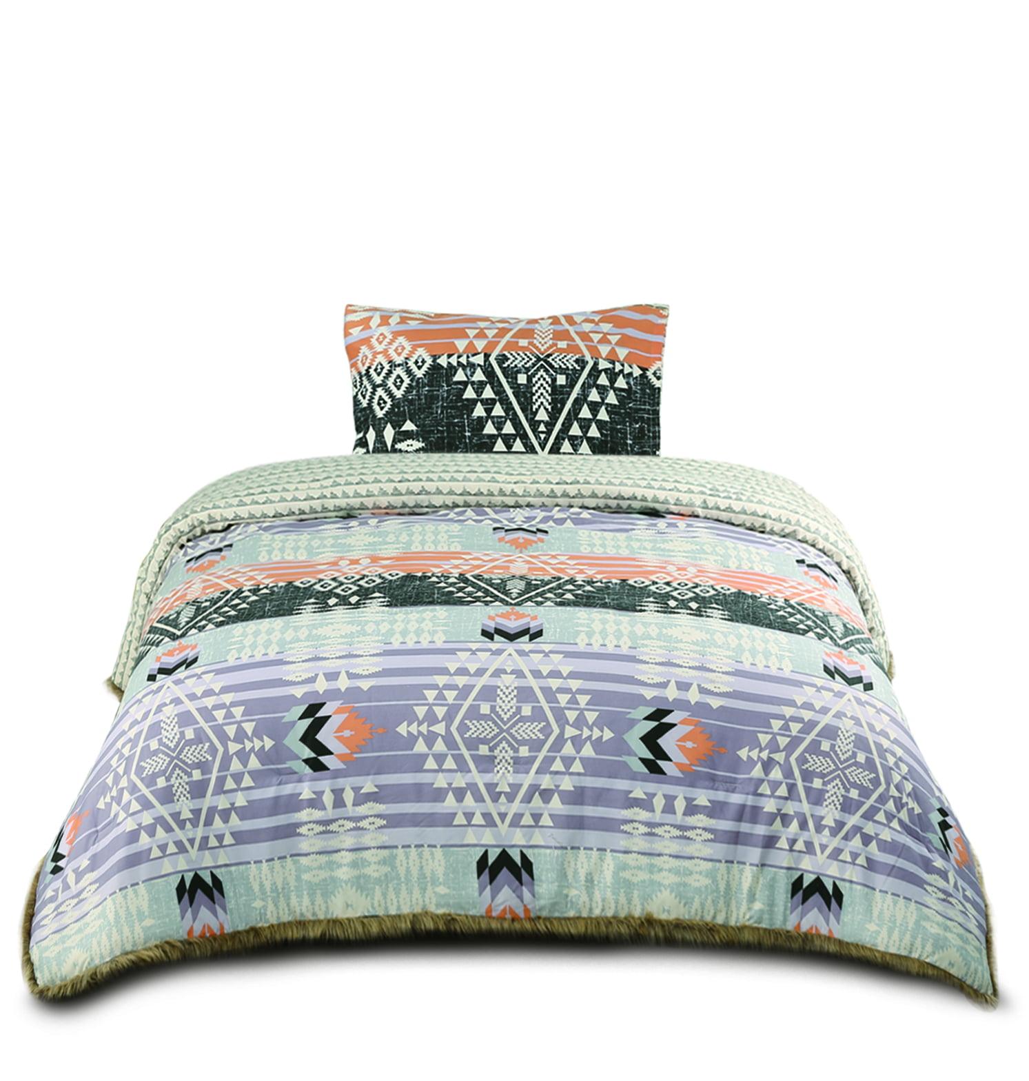 Muk Luks Bohemian Style Comforter Set With Fur Trim Matching Sham Twin Size Peach Purple Walmart Com Walmart Com
