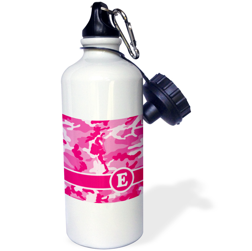 3dRose Cute Pink Camo Camouflage Letter E, Sports Water Bottle, 21oz