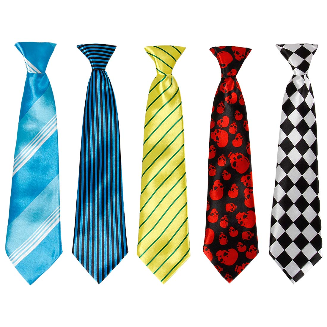 Bundle Monster 5pc Mix Design Boys Formal Wear Pre-Tied Polyester Necktie Set