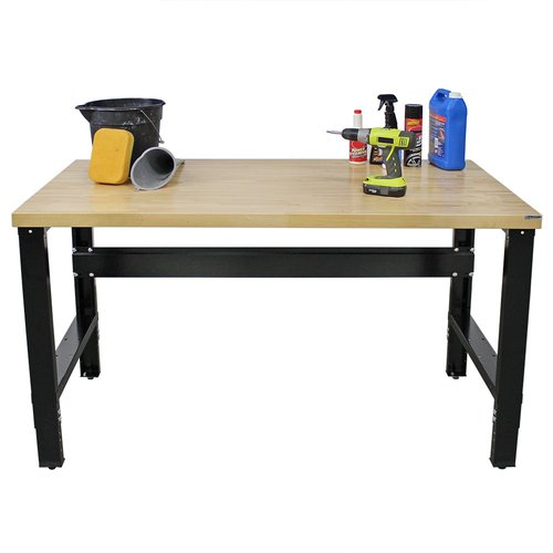 Borroughs Adjustable Height Solid Hardwood Top Workbench by