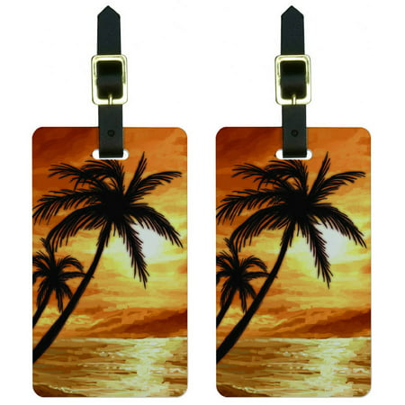 - Palm Trees And Sunset Orange Beach Tropical Ocean Luggage Tags ID, Set of 2