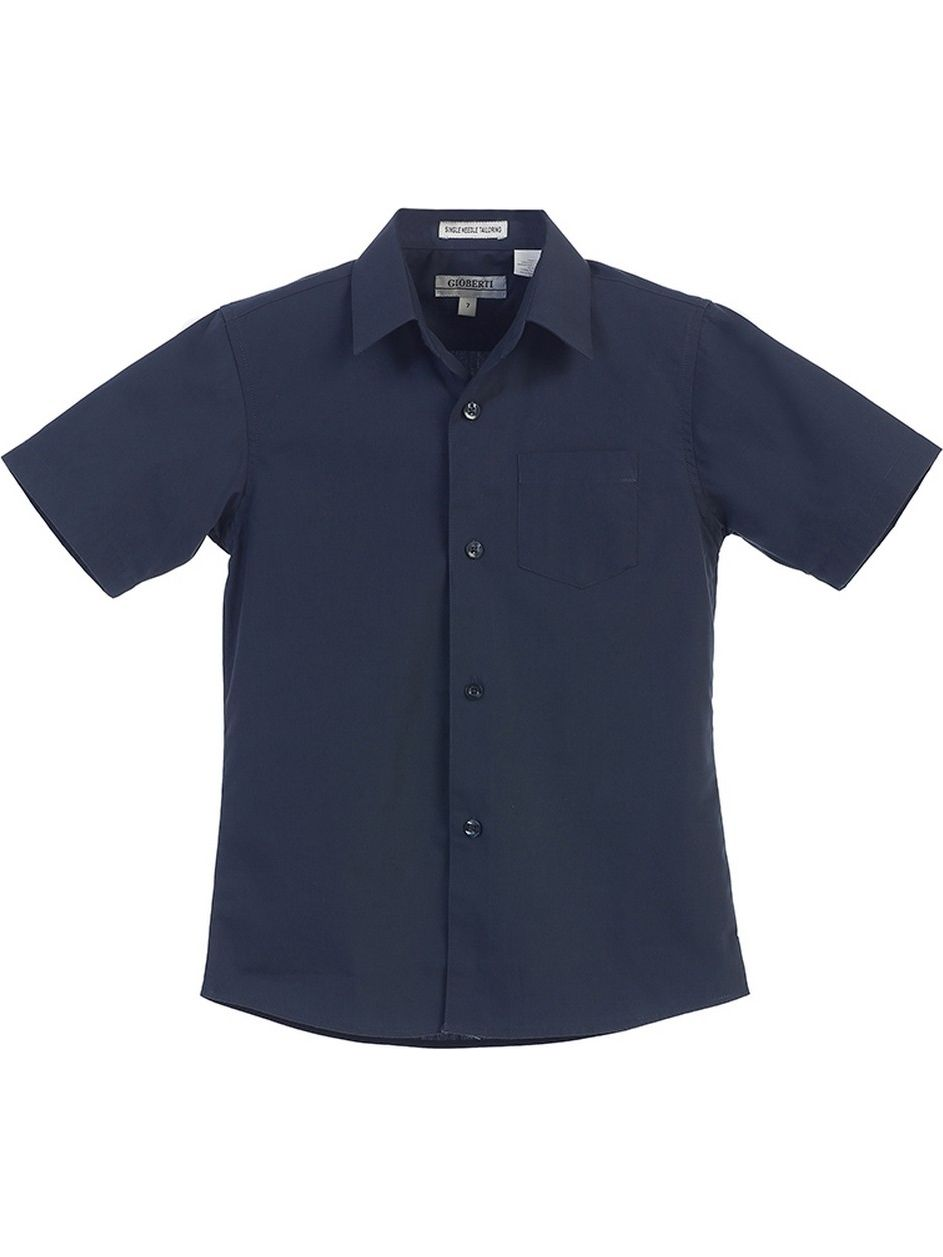 Gioberti Little Boys Navy Solid Color Button Down Short Sleeved Shirt