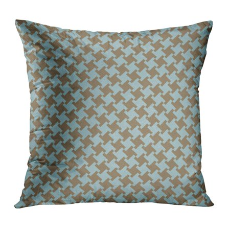 ECCOT Plaid Houndstooth Pattern in Blue and Olive Green Mod 50S 60S 70S 80S PillowCase Pillow Cover 16x16 inch