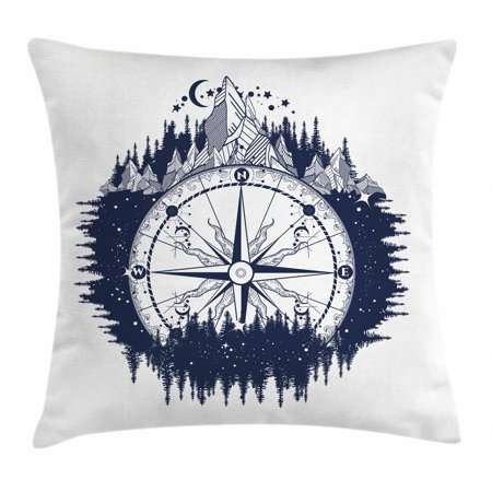 Northwoods Throw Pillow Cushion Cover, Antique Compass in the Night Forest Tattoo Art in Boho Style Travel, Decorative Square Accent Pillow Case, 16 X 16 Inches, Dark Blue and Coconut, by Ambesonne ()