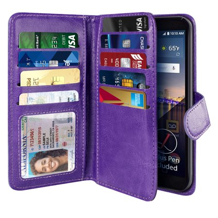 NEXTKIN Multi Card Slots Double Flap Wallet Pouch Case for LG Stylo 3 Stylus 3 LS777, Purple (Nexus 5 Phone Case Purple)