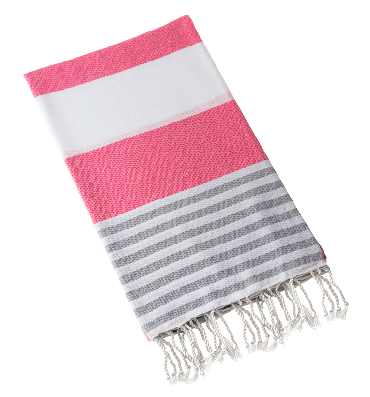 "Swan Comfort  100% Cotton Pestemal Turkish Bath Towel, 39"" x 70"" - Pink - Grey"