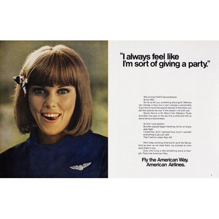 Ad American Airlines 1968 Nadvertisement For American Airlines Featuring A Flight Attendant 1968 Poster Print by Granger Collection American Airlines Flight Attendant