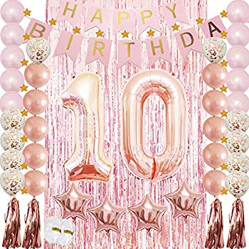 Gold and Black Ushinemi Happy 10th Birthday Backdrop 10 Years Old Birthday Banner Party Decorations 6X3.6 Ft Large Bday Wall Decor Signs