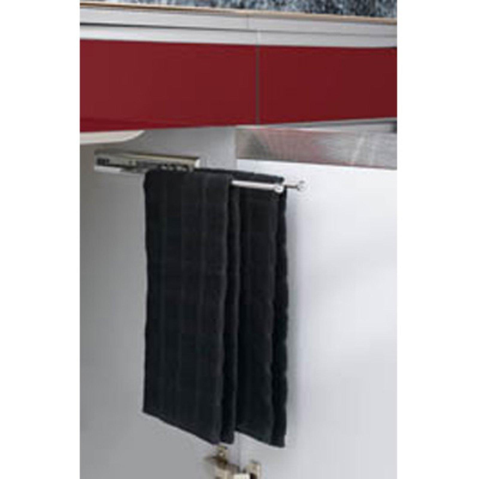 Rev-a-Shelf Undersink Pullout 3 Prong Towel Bar - Chrome