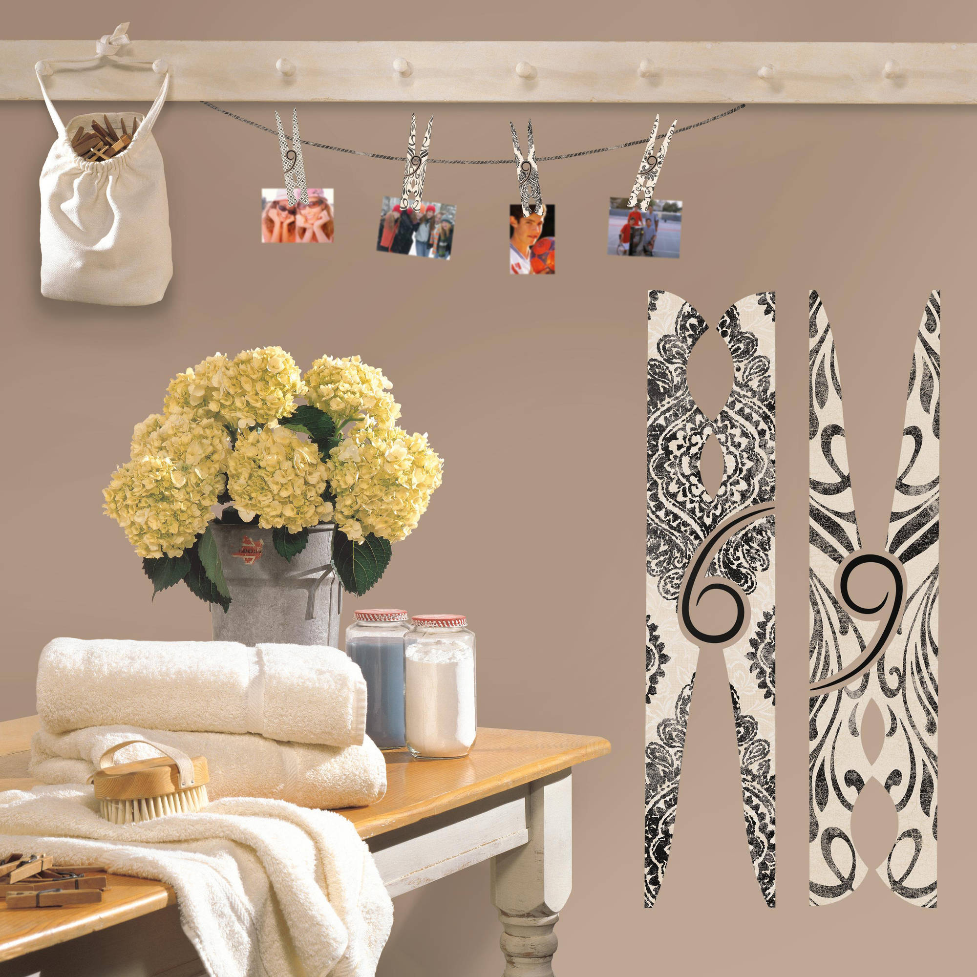 Clothes Pins Peel and Stick Giant Wall Decals