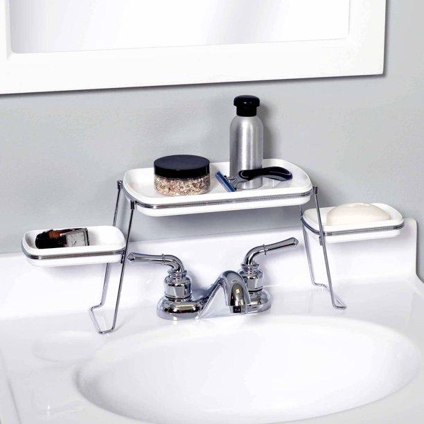 Zenna Home 8665swp Over The Faucet Shelf White Chrome Walmart Com Walmart Com