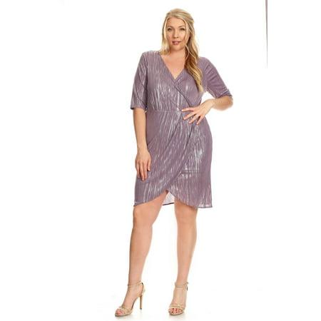 Xehar Women\'s Plus Size Metallic V-Neck Wrapped Dress