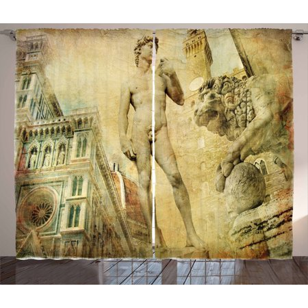 - Italy Curtains 2 Panels Set, Ancient Florence Art Collage Michelangelo David Renaissance, Window Drapes for Living Room Bedroom, 108W X 96L Inches, Pale Yellow Pale Orange Mint Green, by Ambesonne