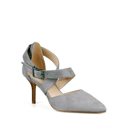 Calico Kiki Criss cross Adjustable Ankle Strap Women's Pumps in Grey