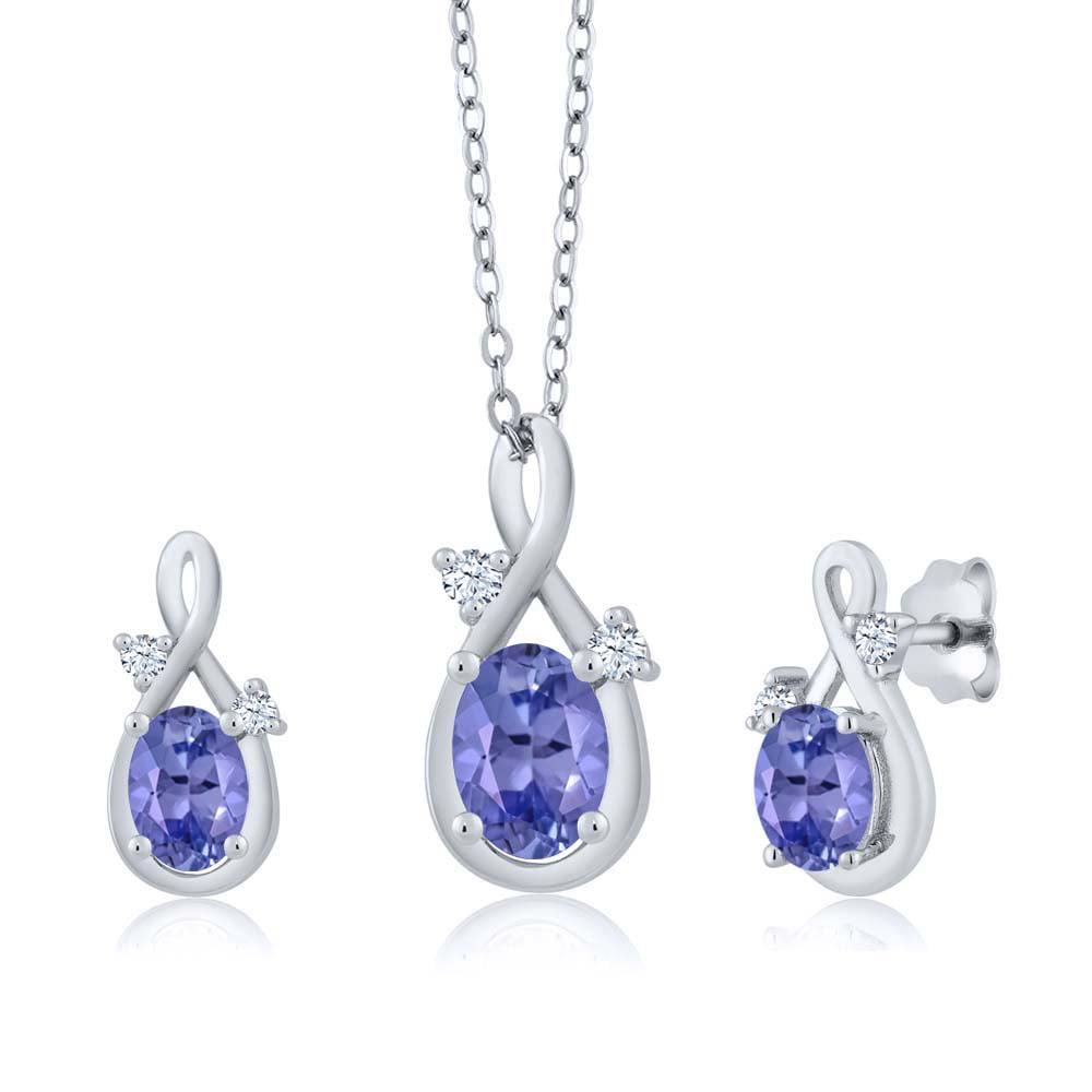 1.74 Ct Oval Blue Tanzanite 18K White Gold Pendant Earrings Set by