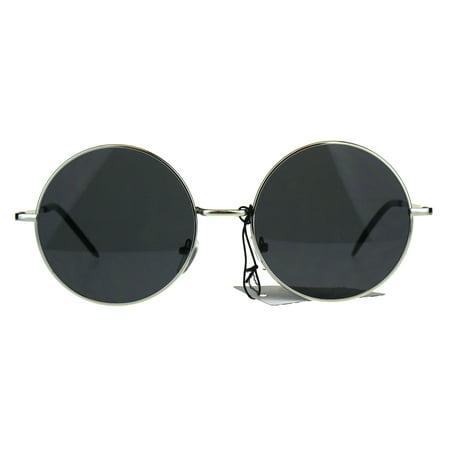 Trendy Flat Panel Oversize Round Circle Lens Hippie 70s Sunglasses Silver Black