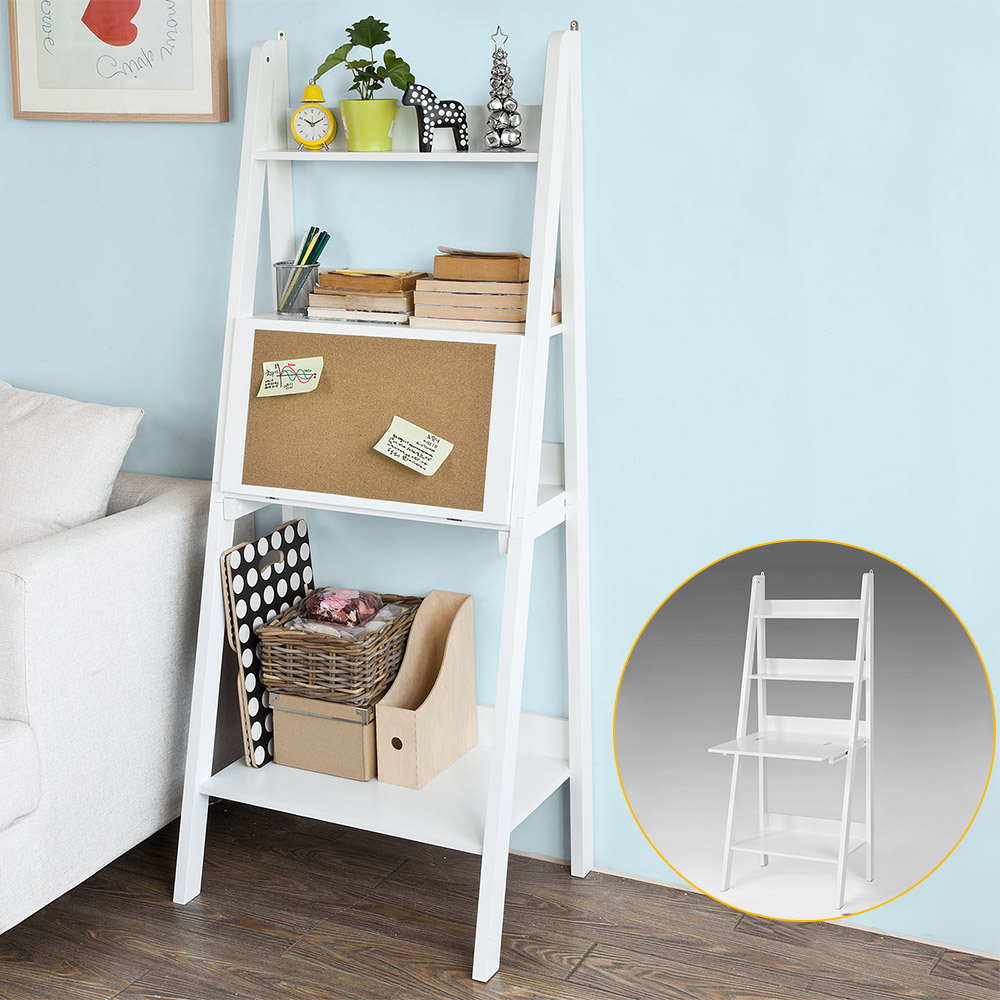 Haotian Wood Modern Ladder Bookcase,Book Shelf,Free Stand Shelf with Memo Board,Wall Shelf Desk,White(FRG115-W)