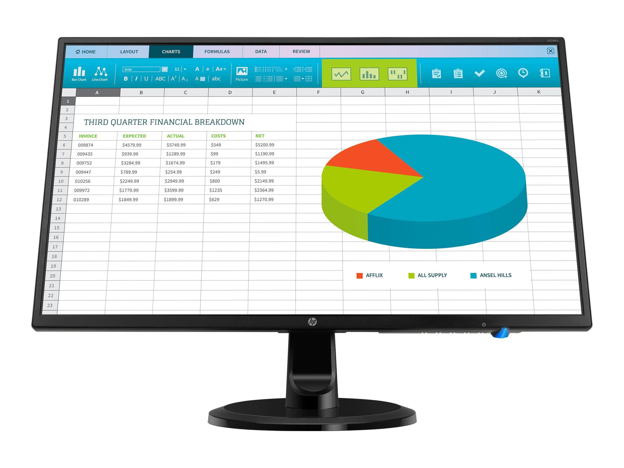 "HP 21.5/"" Widescreen LED LCD Monitor Black X8T07AA#ABA"
