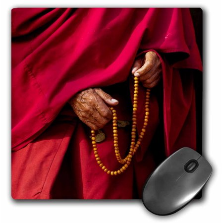 3dRose India, Jammu and Kashmir, Ladakh, Leh, monk holding prayer beads, Mouse Pad, 8 by 8 inches