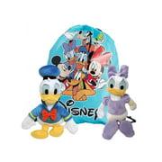 """Disney 11"""" Donald & Daisy Plush Dolls Toys w/ 15"""" Drawstring Sling Bag"""