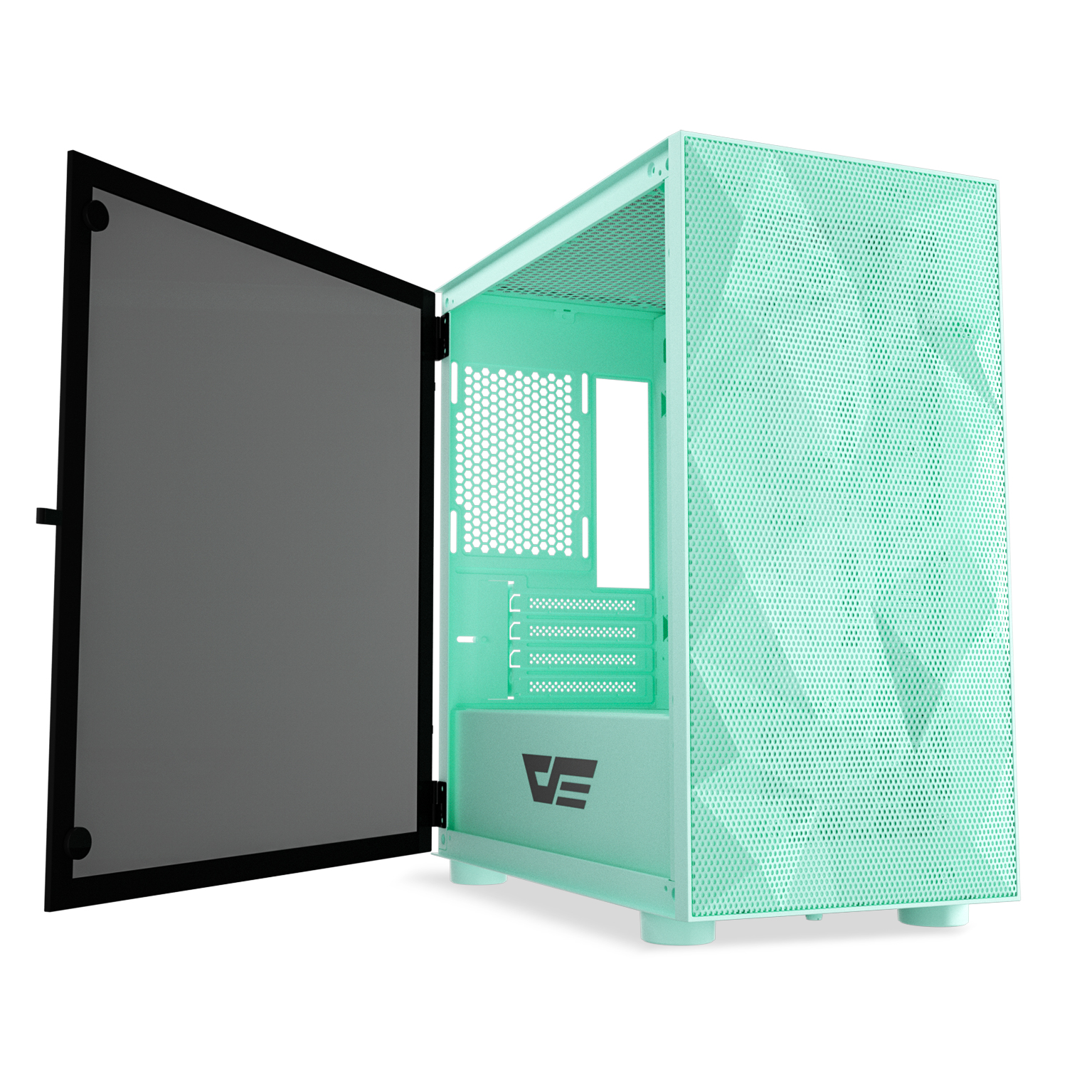 darkFlash DLM21 MESH Micro ATX Mini ITX Tower MicroATX Computer Case with Door Opening Tempered Glass Side Panel /& Mesh Front Panel Mint Green