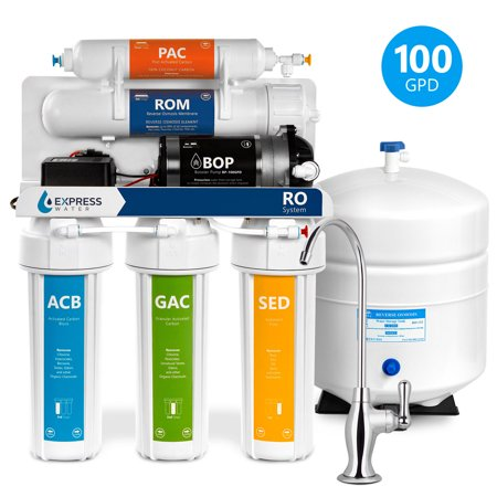 Express Water 5 Stage Reverse Osmosis Drinking Water Undersink Filtration System Plus RO Booster Pump - 100 GPD Membrane Capacity,