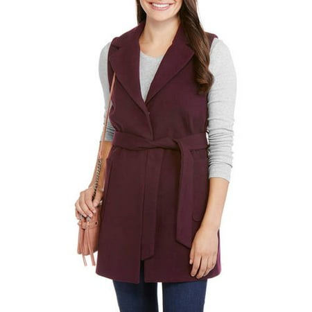 Maxwell Studio Women's Fashion Faux Wool Belted Sleeveless Coat-Wear As A Vest Or Jacket
