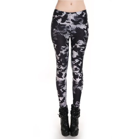 Fashion Lady Pattern Printed Hot Womens Stretch Tight Leggings Skinny Pants Crow Design