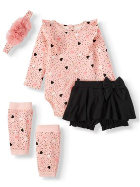 Miniville Baby Girls Bodysuit, Skort, Leg Warmers and Headband, 4-Piece Set
