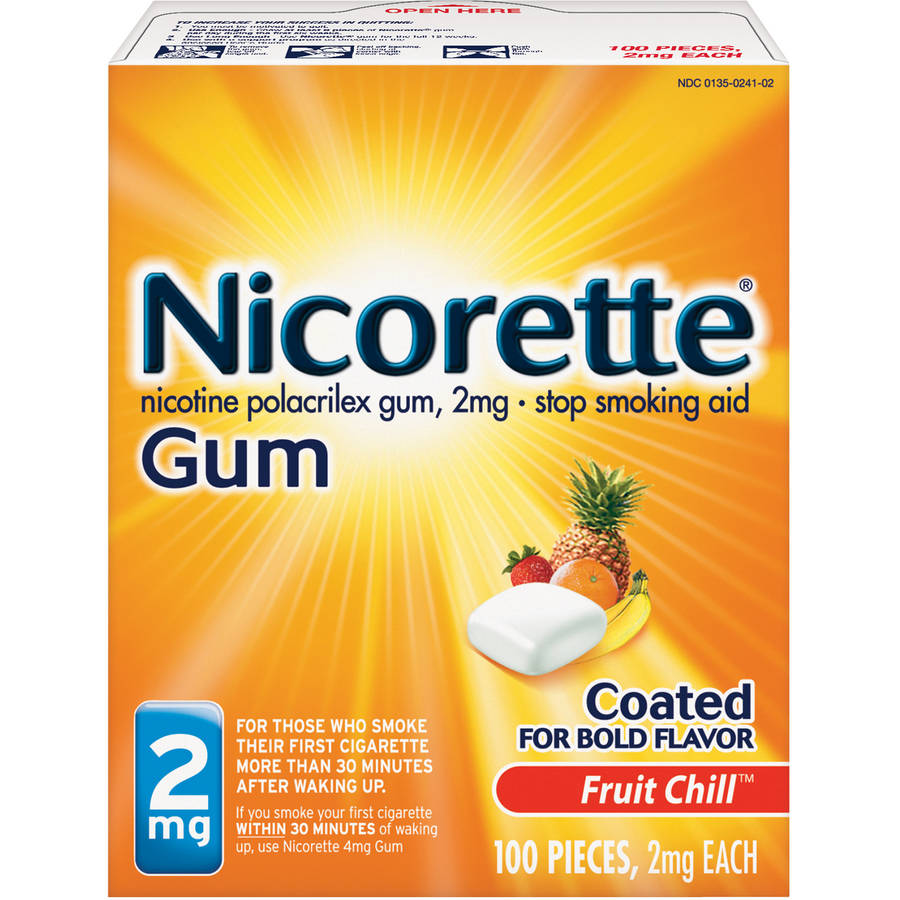 Nicorette Stop Smoking Aid Nicotine Gum, Fruit Chill Flavor, 2mg, 100 Pieces