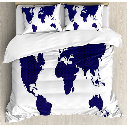 Ambesonne All Around the World Great for a Traveler Free Souls World Map Art Picture Duvet Cover Set